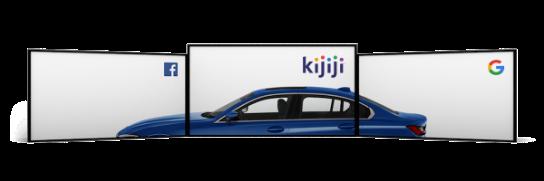 Trois écrans rectangulaires formant chacun une portion d'une voiture bleue