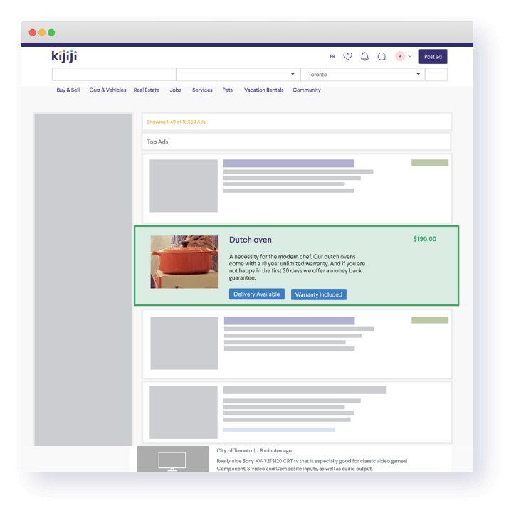 A Kijiji retail page highlights the badges feature