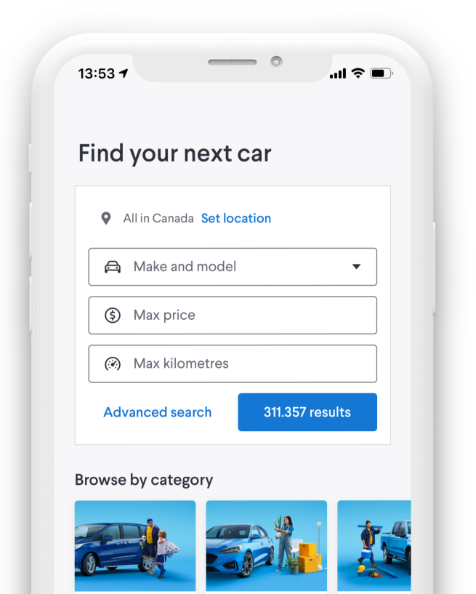 A phone showing the Kijiji Autos Find Your Next Car webpage