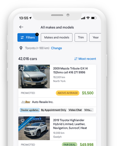 A phone showing the Kijiji Autos Makes and Models webpage