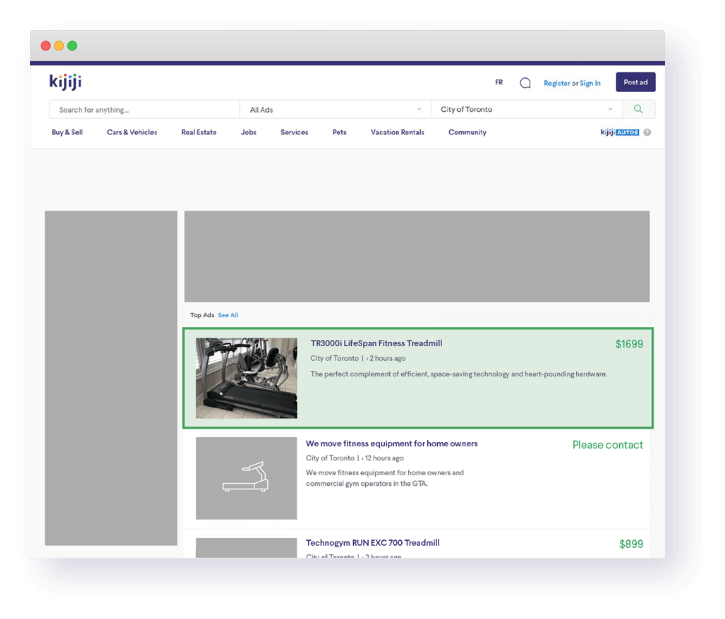 A Kijiji retail page highlights the top ads feature