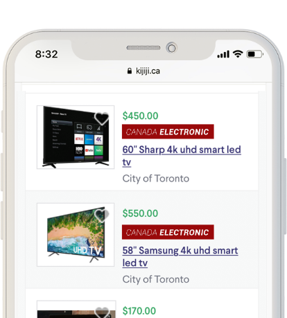 A phone shows a Kijiji webpage featuring different retail listings