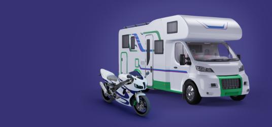 Image d'une moto et d'un VR côte à côte