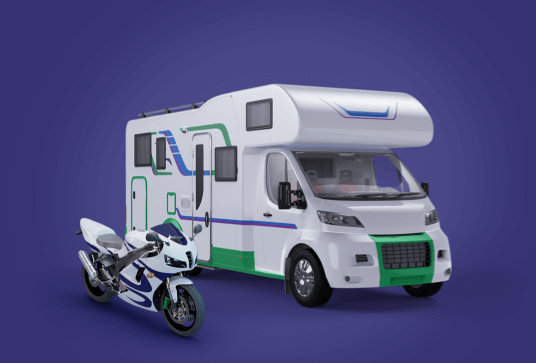 Image of motorcycle and RV side by side